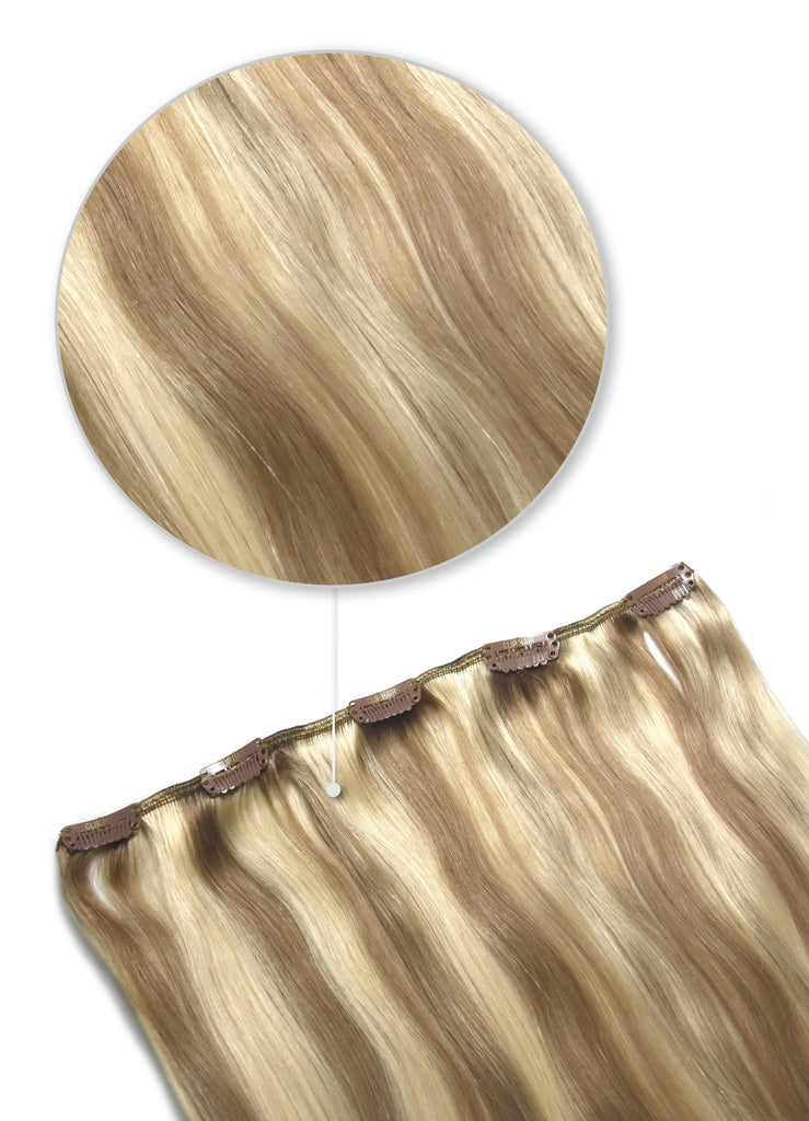 human hair extensions clip in one piece ash brown highlights