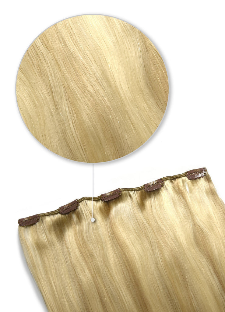 one piece clip in hair extensions golden blonde highlights