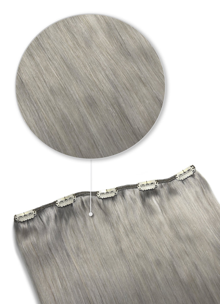 hair pieces - one piece clip in hair extensions 100% human hair silver grey