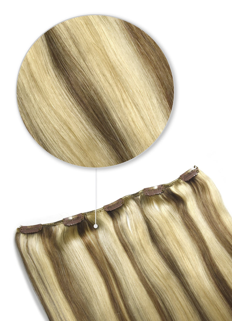 hair pieces - one piece clip in human hair extensions dark ash blonde highlights
