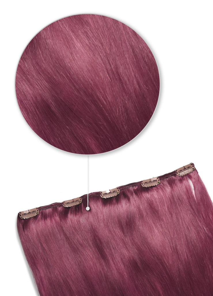 cherry red one piece clip in hair extensions remy human hair