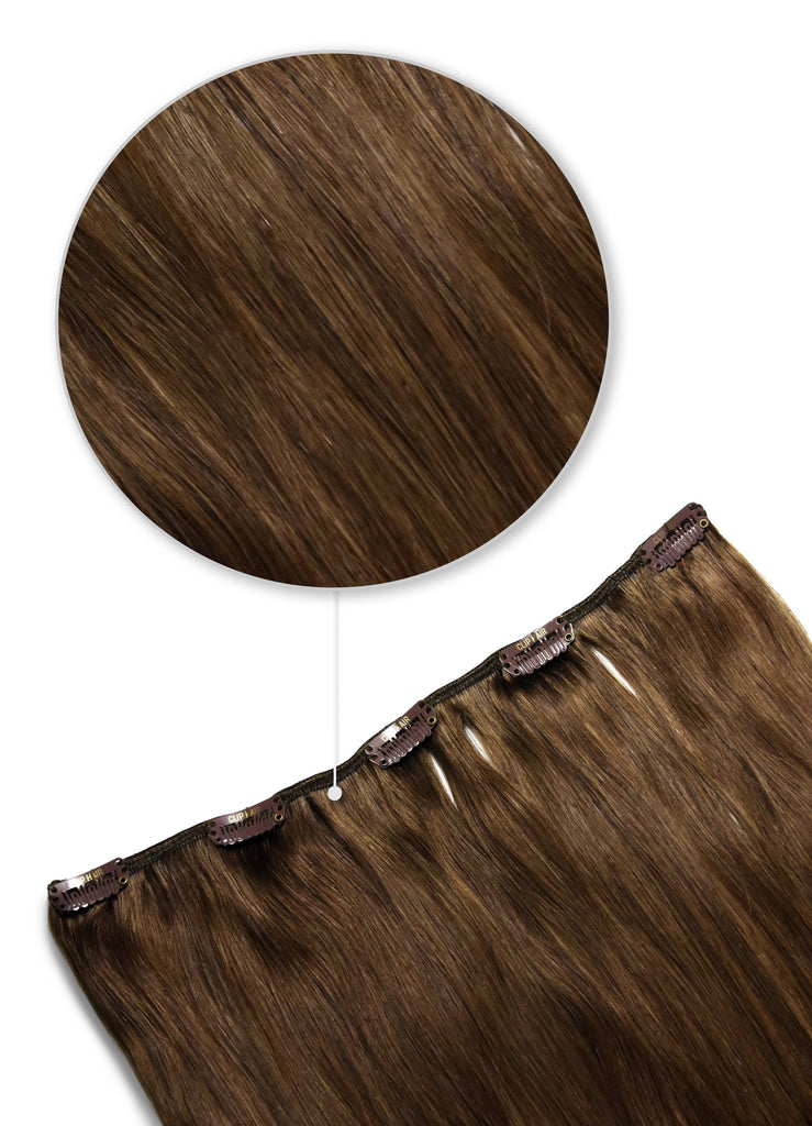 one piece hair extensions clip in hair pieces light chestnut brown shade 6