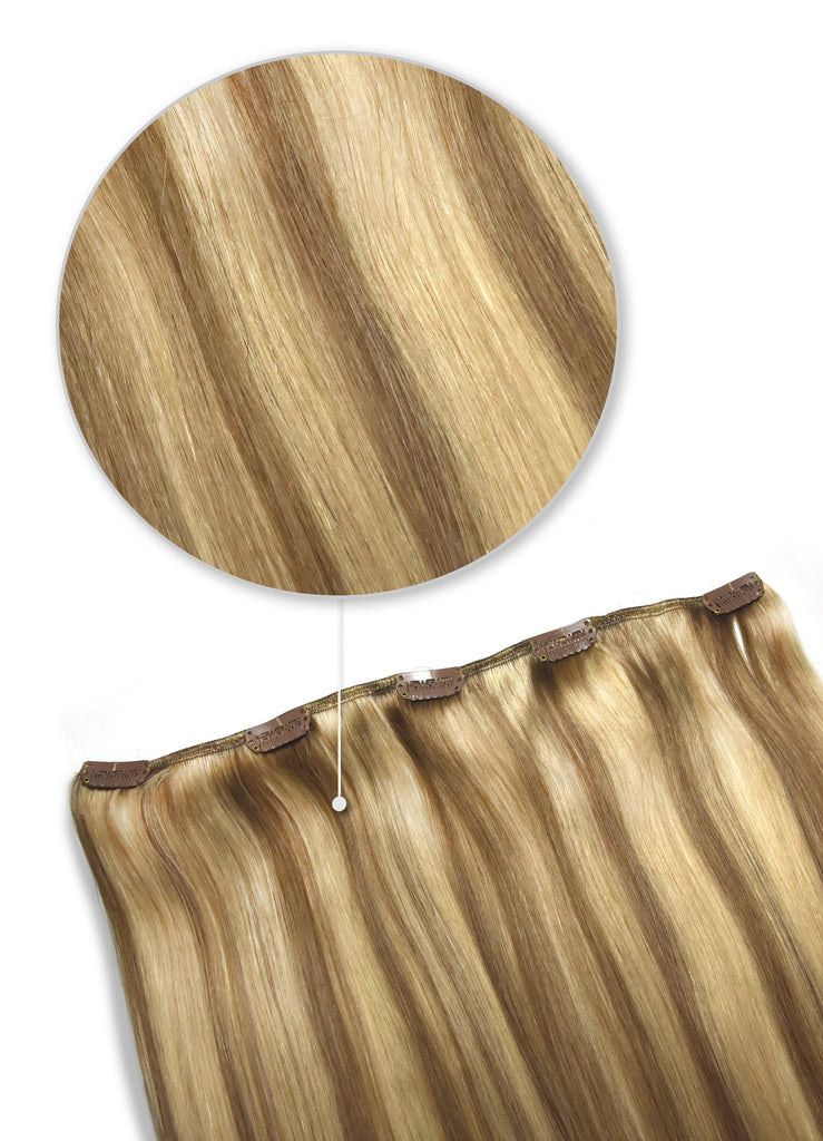remy human hair extensions clip in one piece medium brown golden highlights