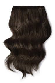 Double Wefted Full Head Remy Clip in Human Hair Extensions - Dark Brown (#3)