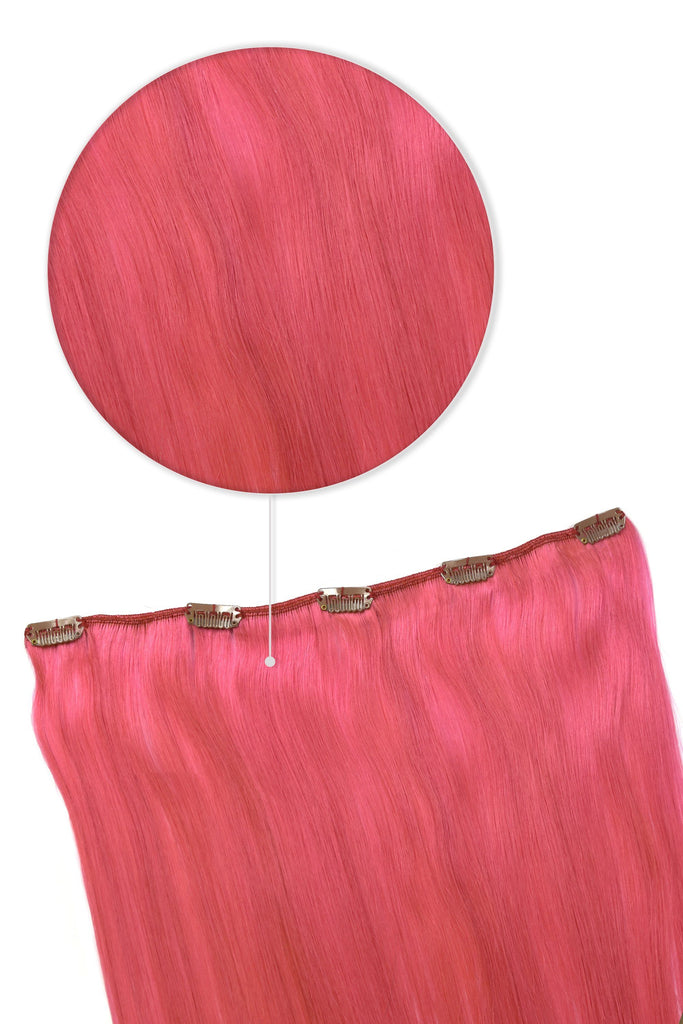 One Piece Top-up Remy Clip in Human Hair Extensions - Pink