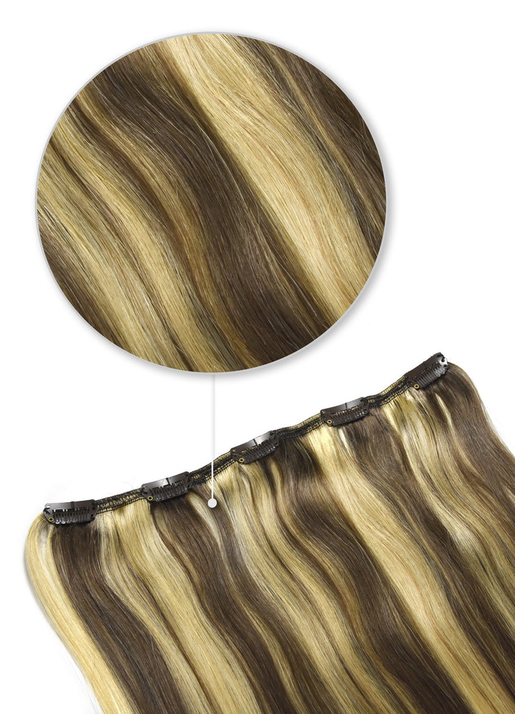 One Piece Top-up Remy Clip in Human Hair Extensions - Ash Brown/Bleach Blonde Mix (#9/613)