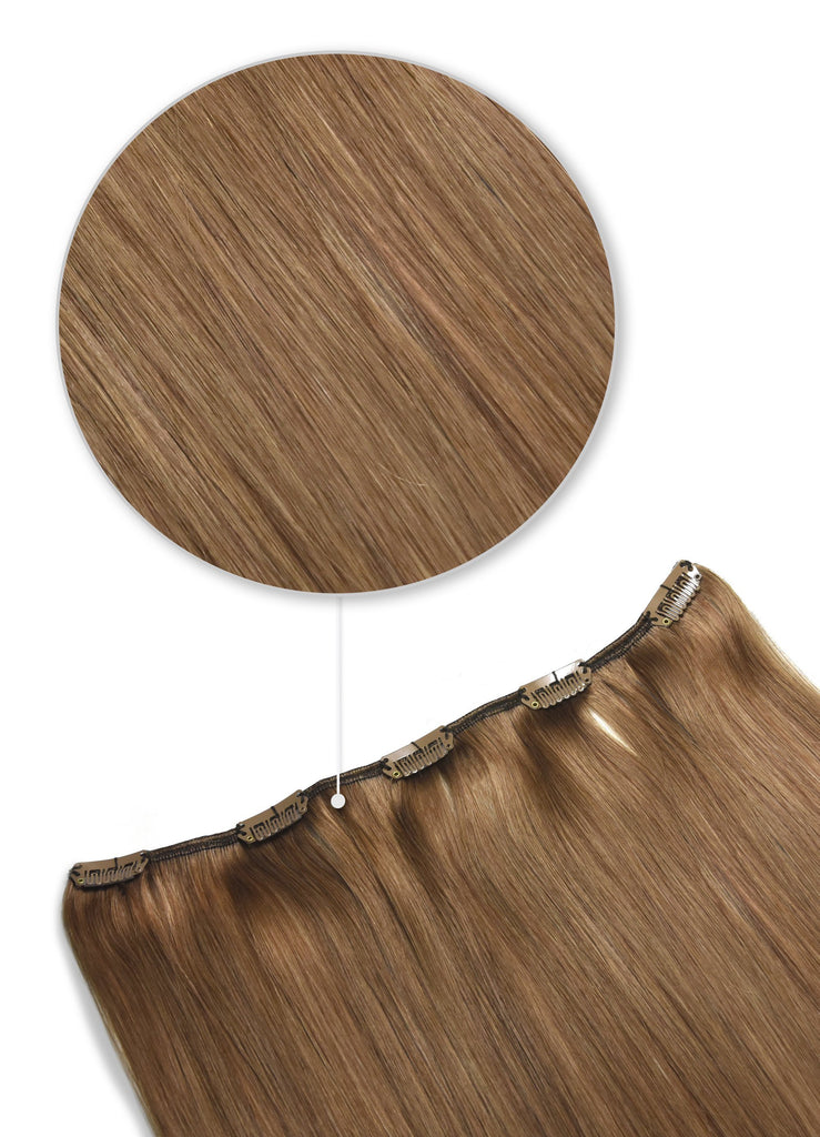 remy hair extensions one piece clip in light auburn shade 30