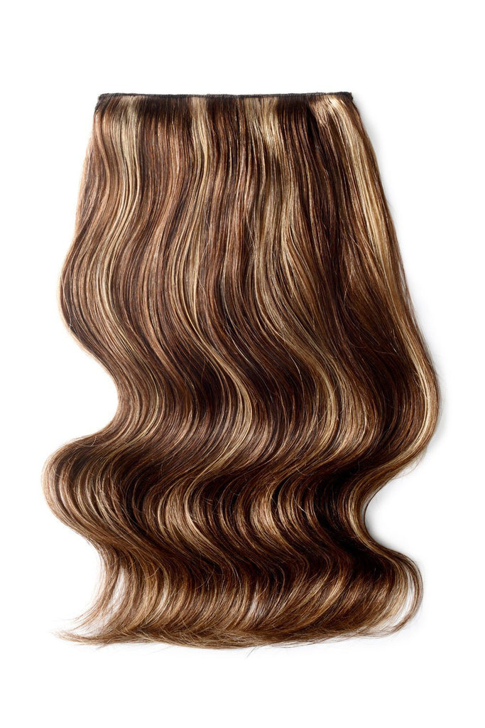 Double Wefted Full Head Remy Clip in Human Hair Extensions - Medium Brown/Strawberry Blonde Mix (#4/27)