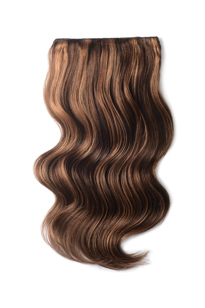 Double Wefted Full Head Remy Clip in Human Hair Extensions - Medium Brown/Auburn Mix (#4/30)