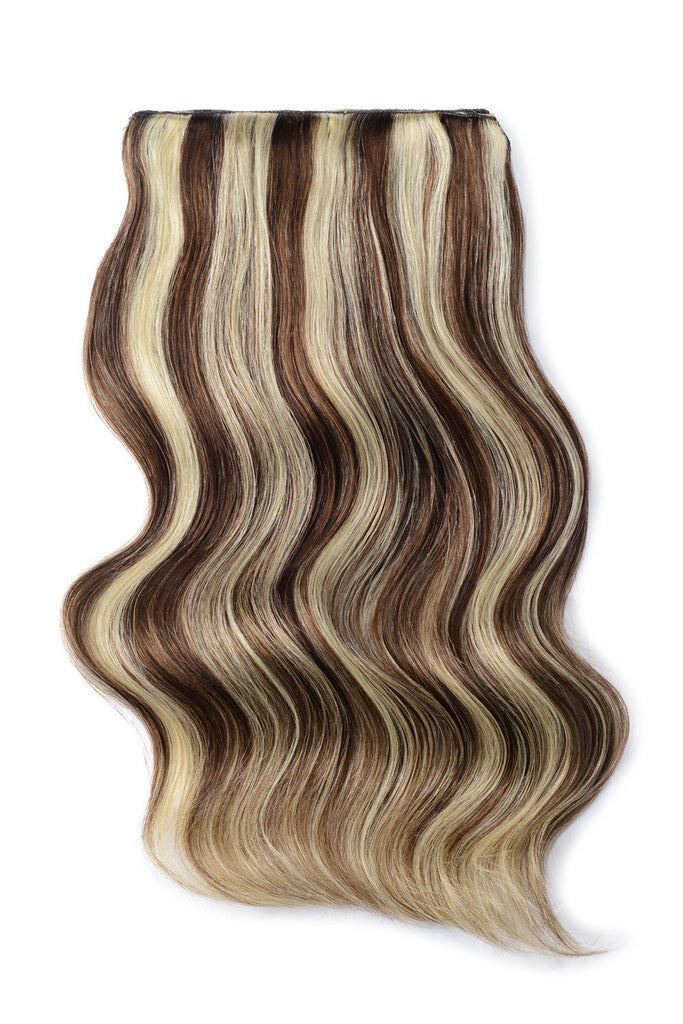 Double Wefted Full Head Remy Clip in Human Hair Extensions - Medium Brown/Bleach Blonde Mix (#4/613)