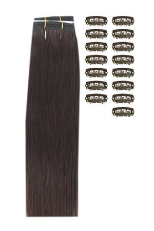 15 Inch DIY Remy Clip in Human Hair Extensions - Medium Brown (#4)