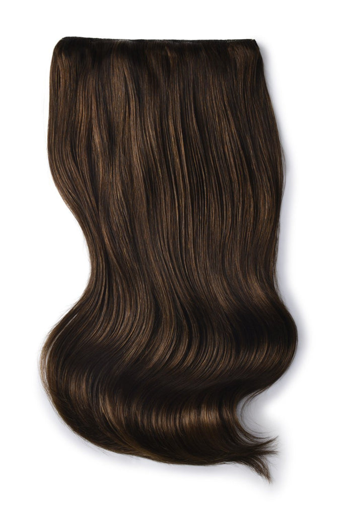 Double Wefted Full Head Remy Clip in Human Hair Extensions - Medium Brown (#4)