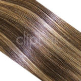 One Piece Top-up Remy Clip in Human Hair Extensions - Medium Brown/Blonde Mix (#4/24)