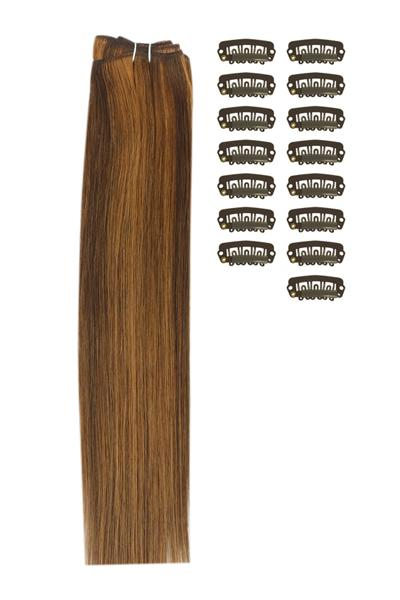 15 Inch DIY Remy Clip in Human Hair Extensions - Medium Brown/Auburn Mix (#4/30)