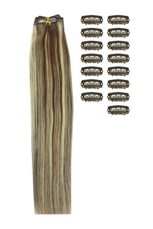 15 Inch DIY Remy Clip in Human Hair Extensions - Medium Brown/Bleach Blonde Mix (#4/613)