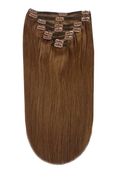Full Head Remy Clip in Human Hair Extensions - Toffee Brown (#5) Full Head Set cliphair