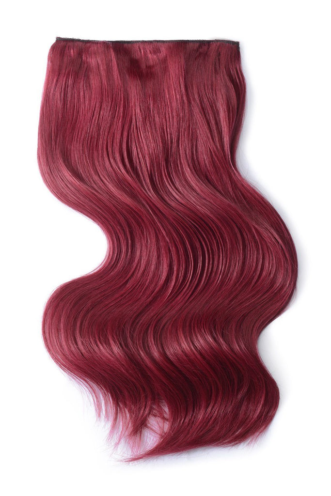 Double Wefted Full Head Remy Clip in Human Hair Extensions - Plum/Cherry Red (#530)