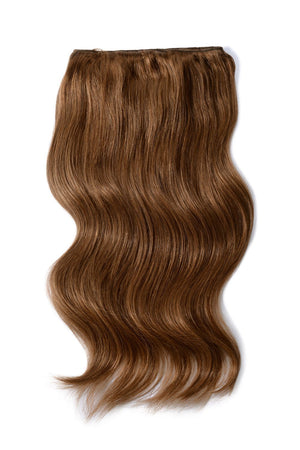 Double Wefted Full Head Remy Clip in Human Hair Extensions - Toffee Brown (#5)