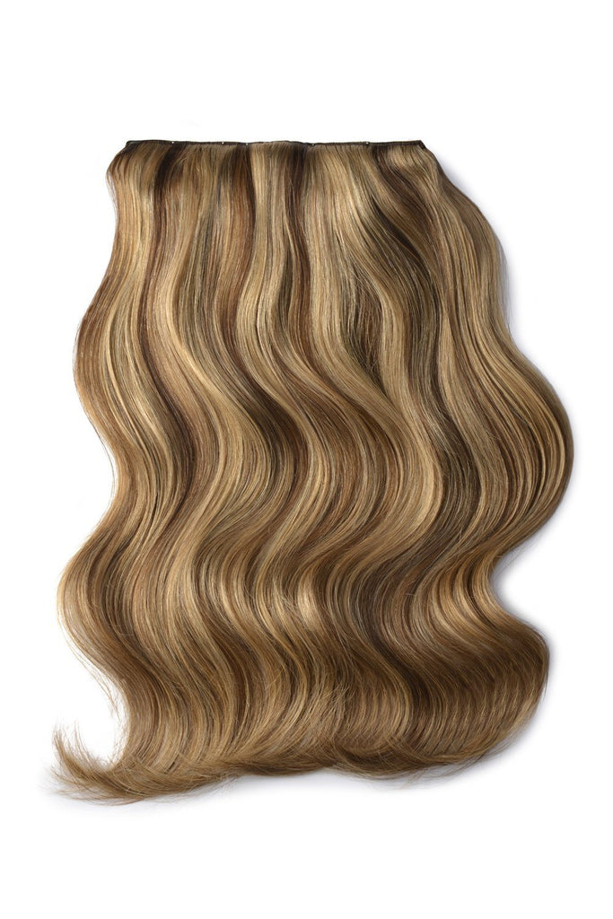 Double Wefted Full Head Remy Clip in Human Hair Extensions - Brown/Ginger Blonde Mix (#6/27)