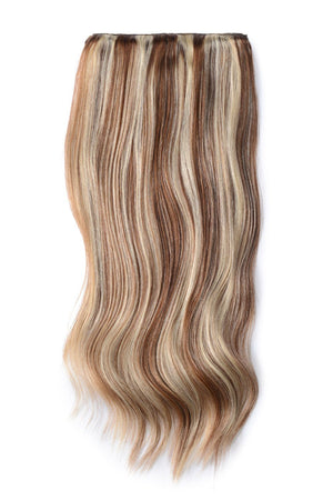 Double Wefted Full Head Remy Clip in Human Hair Extensions - Light Brown/Bleach Blonde Mix (#6/613)