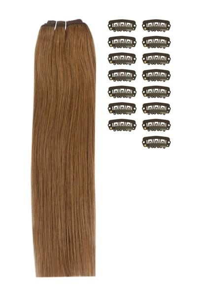 15 Inch DIY Remy Clip in Human Hair Extensions - Light/Chestnut Brown (#6)