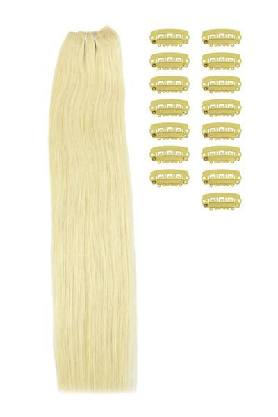 15 Inch DIY Remy Clip in Human Hair Extensions - Lightest Blonde (#60)