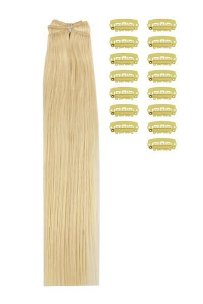 15 Inch DIY Remy Clip in Human Hair Extensions - Bleach Blonde (#613)