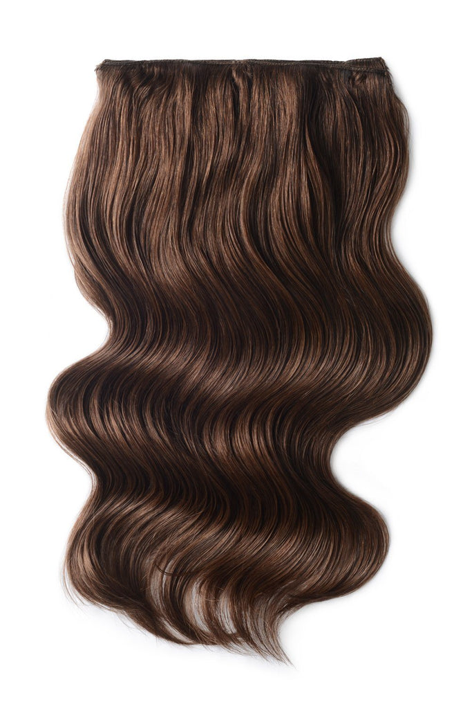 Double Wefted Full Head Remy Clip in Human Hair Extensions - Mousey Brown (#6B)