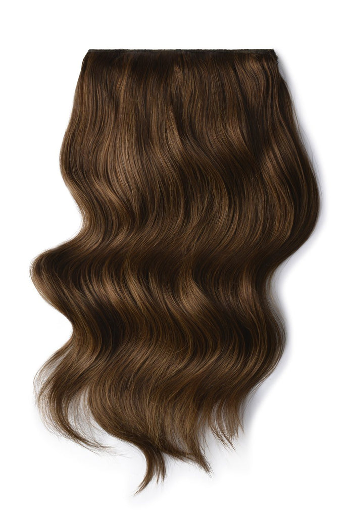 Double Wefted Full Head Remy Clip in Human Hair Extensions - Light/Chestnut Brown (#6)