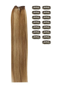 15 Inch DIY Remy Clip in Human Hair Extensions - Light Brown/Ginger Blonde Mix (#6/27)