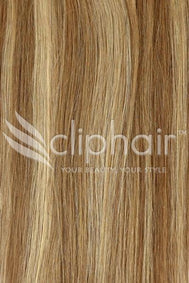15 Inch Remy Clip in Human Hair Extensions Highlights / Streaks - Light Brown/ Ginger Blonde Mix (#6/27)