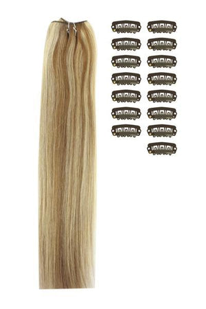 15 Inch DIY Remy Clip in Human Hair Extensions - Light Brown/Bleach Blonde Mix (#6/613)