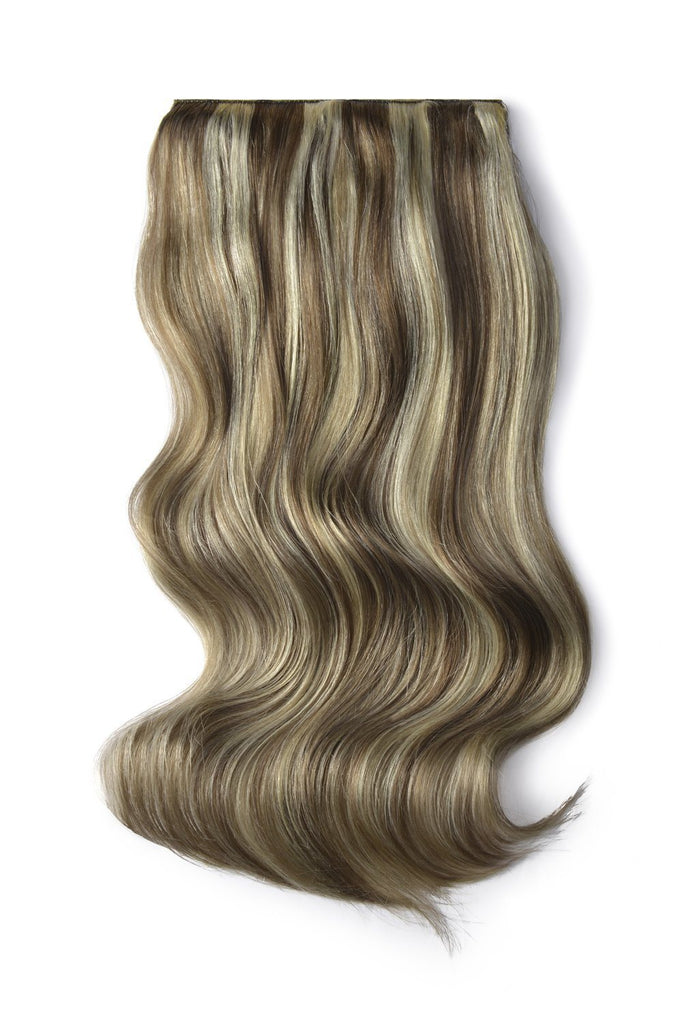 Double Wefted Full Head Remy Clip in Human Hair Extensions - Ash Brown/Bleach Blonde Mix (#9/613)