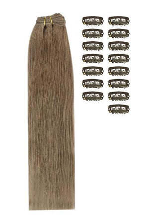 15 Inch DIY Remy Clip in Human Hair Extensions - Ash Brown (#9)