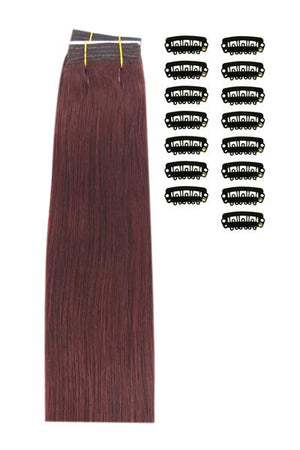 15 Inch DIY Remy Clip in Human Hair Extensions - Mahogany Red (#99J)