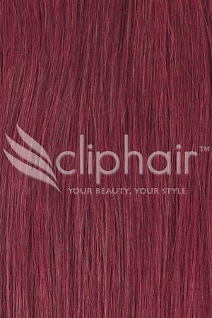 15 Inch Remy Clip in Human Hair Extensions Highlights / Streaks - Mahogany Red (#99J)