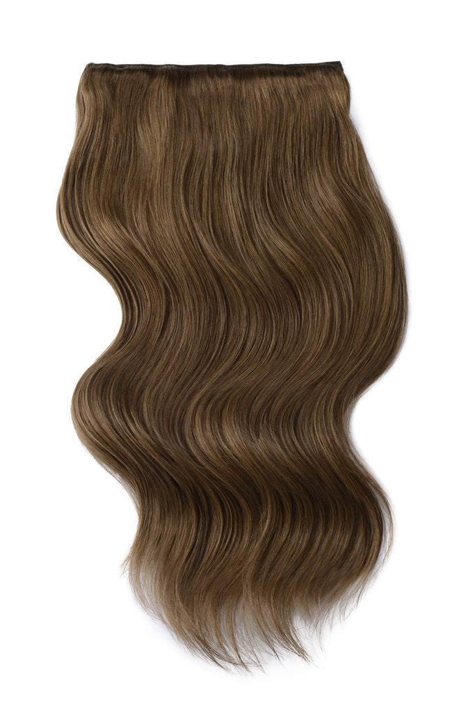 Double Wefted Full Head Remy Clip in Human Hair Extensions - Ash Brown (#9)
