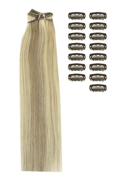 15 Inch DIY Remy Clip in Human Hair Extensions - Ash Brown/Bleach Blonde Mix (#9/613)
