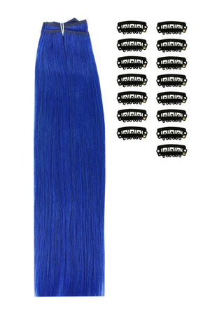 15 Inch DIY Remy Clip in Human Hair Extensions - Blue