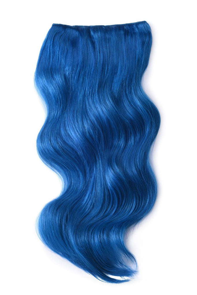 Double Wefted Full Head Remy Clip in Human Hair Extensions - Blue