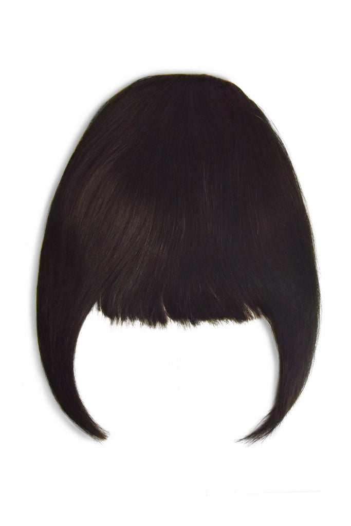 Clip in /on Remy Human Hair Fringe / Bangs - Darkest Brown (#2) Clip In Fringe Extensions cliphair