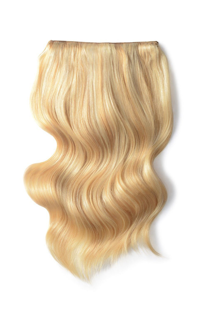 Double Wefted Full Head Remy Clip in Human Hair Extensions - Golden Blonde/Bleach Blonde Mix (#16/613)