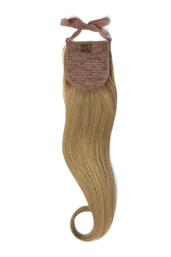 Clip in Ponytail Remy Human Hair Extensions - Lightest Brown (#18)