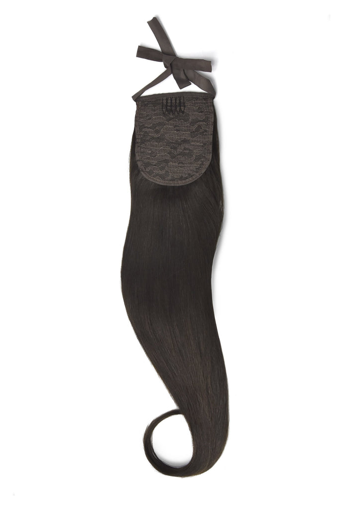 Clip in Ponytail Remy Human Hair Extensions - Darkest Brown (#2) Clip In Ponytail Extensions > Ponytail extension > Clip in ponytail > Ponytail hair extensions cliphair