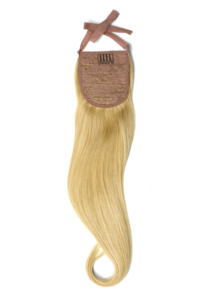Clip in Ponytail Remy Human Hair Extensions - Light Golden Blonde (#16)