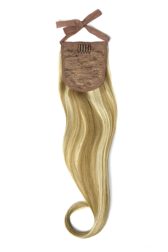 Clip in Ponytail Remy Human Hair Extensions - Lightest Brown/Bleach Blonde Mix (#18/613)