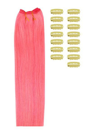 15 Inch DIY Remy Clip in Human Hair Extensions - Pink