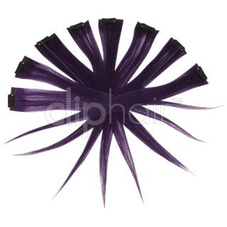15 Inch Remy Clip in Human Hair Extensions Highlights / Streaks - Purple
