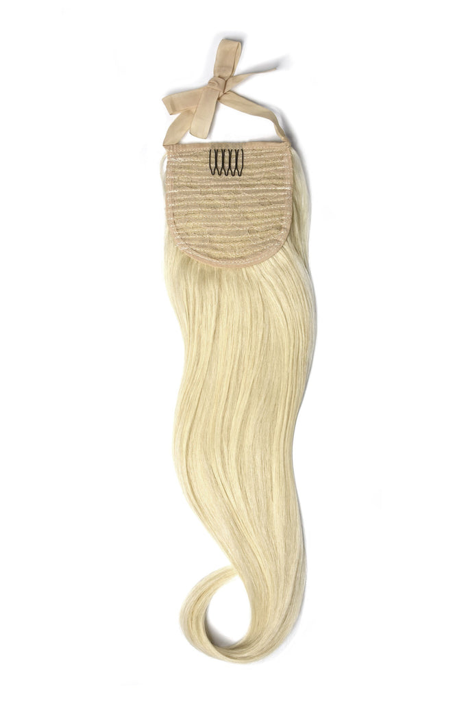 Clip in Ponytail Remy Human Hair Extensions - Lightest Blonde (#60)