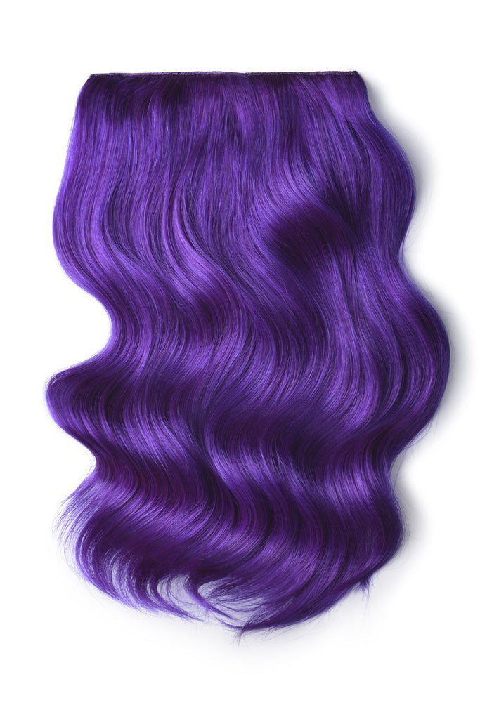 Double Wefted Full Head Remy Clip in Human Hair Extensions - Purple